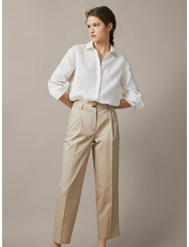 Slim Fit Pleated Chino Trousers by Massimo Dutti