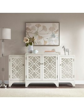 Madison Park Nevaeh Cream Dining Buffet Server Quatrefoil Design With Mirrored Doors by Madison Park