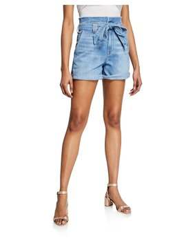 Belted Paperbag Waist Denim Shorts by 7 For All Mankind