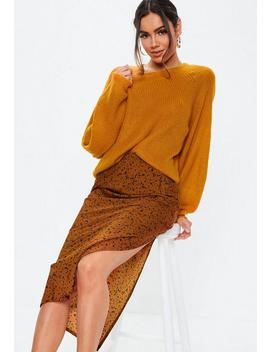 Orange Balloon Sleeve Fluffy Jumper by Missguided