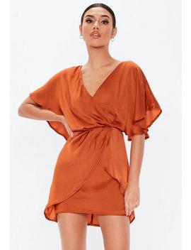 Rust Satin Frill Mini Dress by Missguided