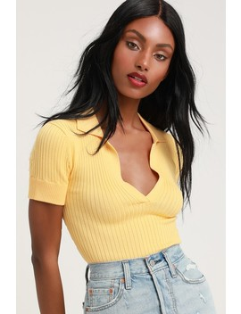 Farias Golden Yellow Ribbed Cropped Polo by Lulus