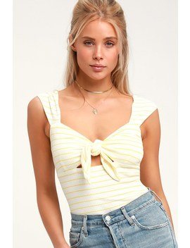 Super Star Yellow And Cream Striped Bodysuit by Lulus