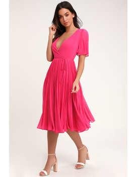 Pleats To Meet You Fuchsia Pink Pleated Midi Wrap Dress by Lulus