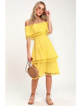 Pensacola Yellow Off The Shoulder Tasseled Midi Dress by Lulus