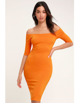 Girl Can't Help It Orange Off The Shoulder Midi Dress by Lulus