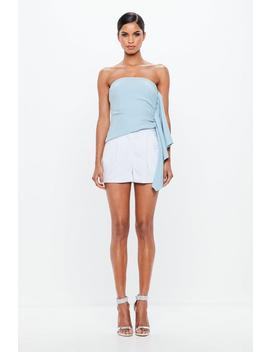 Peace + Love Powder Blue Bandeau Side Frill Top by Missguided