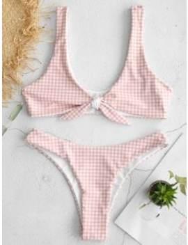 Zaful Gingham Tie Front Bikini Set   Pink L by Zaful