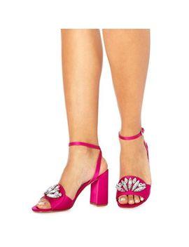 Faith   Pink Satin 'dec' High Block Heel Ankle Strap Sandals by Faith