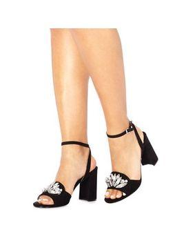 Faith   Black Suedette 'dec' High Block Heel Ankle Strap Sandals by Faith