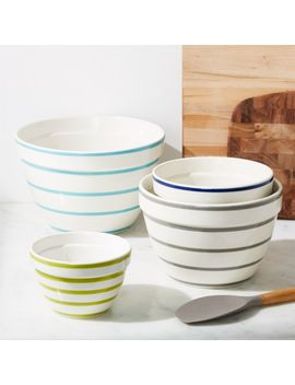 Avery Striped Mixing Bowls, Set Of 4 by Crate&Barrel