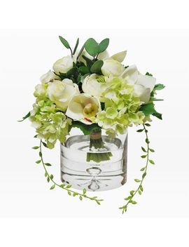 Faux Mixed Flower Bouquet In Cylinder Vase   White by West Elm