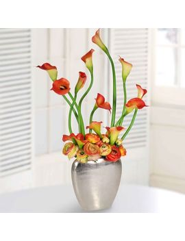 Faux Calla Lily In Tall Silver Vase   Orange by West Elm