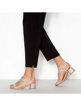 Principles   Silver Metallic 'rae' T Bar Block Heel Sandals by Principles