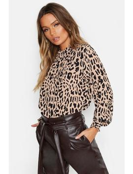 Woven Leopard Sleeved Collar Blouse by Boohoo