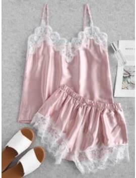 Contrast Lace Satin Cami Pajama Set   Pink M by Zaful