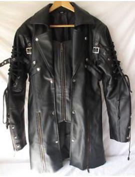 """Women Sexy Black **Leather Like** Biker Long Jacket Size 42 (37"""" Long) by Unbranded"""