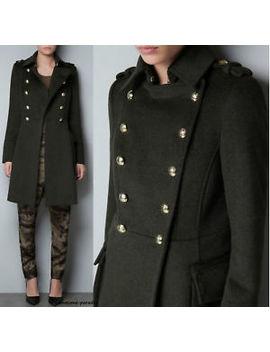Zara Khaki Green Military Woollen Coat Jacket Blazer Gold Buttons Medium M by Zara