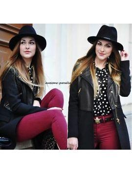 Rare!! Zara Black Real Cow Genuine Leather Biker Coat Jacket Blazer Size Medium by Zara