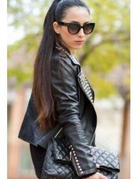 Zara Super Soft Lambskin Black Leather Biker Jacket   Gold Studs   Size S Small by Zara