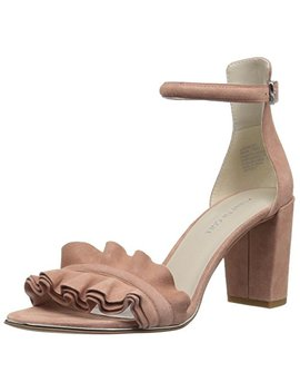 Kenneth Cole New York Women's Langley Ankle Sandal With Ruffle Detail On Front Strap Heeled by Kenneth Cole+New+York