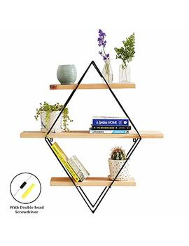 Hebensi Geometric Wall Decor Floating Wall Mount Shelves Book Shelves Wooden Storage Rack Art Rustic Wood Hanging Shelves With Vintage Wooden Storage Holder by Hebensi