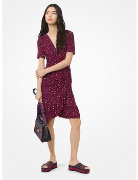 Heart Print Ruched Matte Jersey Dress by Michael Michael Kors