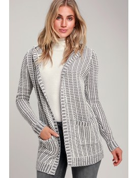 Pandora White And Grey Knit Hooded Cardigan by Olive + Oak