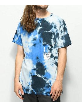 Ripndip Falling For Nermal Blue Tie Dye Pocket T Shirt by Ripndip