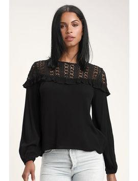 Avola Black Crochet Lace Ruffled Long Sleeve Top by Lulus