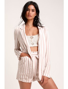 Aroha Mauve Striped Blazer by Lulus
