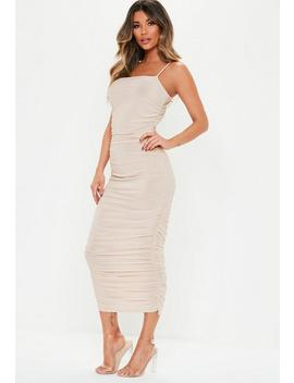 Stone Slinky Ruched Midi Dress by Missguided