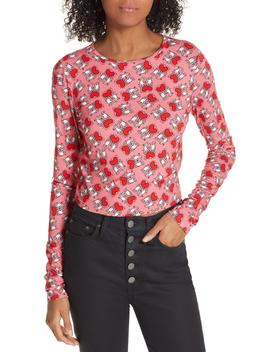X Keith Haring Delaina Heart Holding Long Sleeve Tee by Alice + Olivia