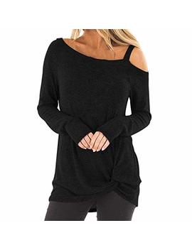 Clearance Forthery Womens Casual Cold Shoulder Long Sleeve Knot Side Blouse Top T Shirts by Forthery