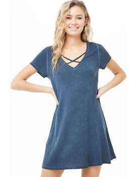 Crisscross V Neck T Shirt Dress by Forever 21