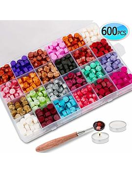 600 Pcs Sealing Wax Beads Packed In Plastic Box, With 2 Pcs Tea Candles And 1 Pc Wax Melting Spoon For Wax Sealing Stamp (24 Colors) by Jiaron