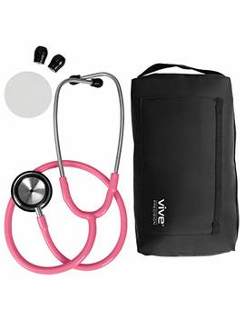 Vive Precision Stethoscope [Pink]   Dual Head Diaphragm Bell For Cardiac Doctors, Cardiology Nurses,... by Vive Precision