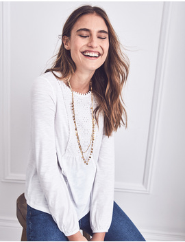 Cleo Broderie Jersey Top by Boden