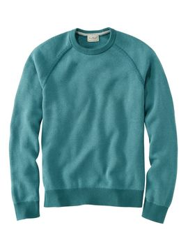 Cotton/Coolmax Performance Crewneck Sweater, Slightly Fitted Long Sleeve by L.L.Bean