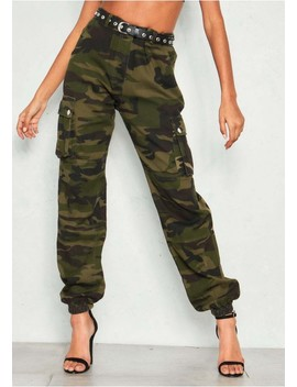 Konnie Green Camo Cargo Trousers by Missy Empire
