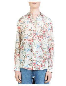 White Bird Avian & Floral Print Silk Shirt by The Kooples