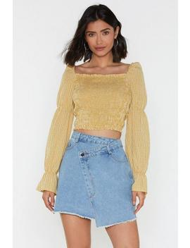 Shirred Wheel Square Neck Check Blouse by Nasty Gal