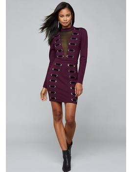 Laced Mesh Inset Mini Dress by Bebe