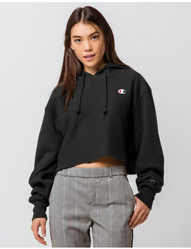 Champion Reverse Weave Black Womens Crop Hoodie by Champion
