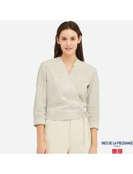 Linen Cotton Wrap 3/4 Sleeve Blouse by Uniqlo