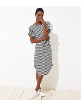 Striped Tie Waist Tee Dress by Loft