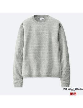 Women Cotton Cashmere Striped Crew Neck Sweater (Ines De La Fressange) by Uniqlo
