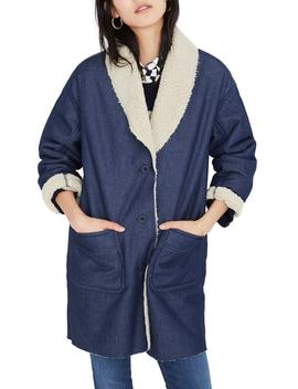 Fleece Trim Denim Cocoon Coat by Madewell