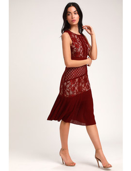 Sandia Burgundy Lace Sleeveless Midi Dress by Lulus