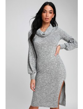 Mattea Heathered Grey Cowl Neck Midi Sweater Dress by Lulus